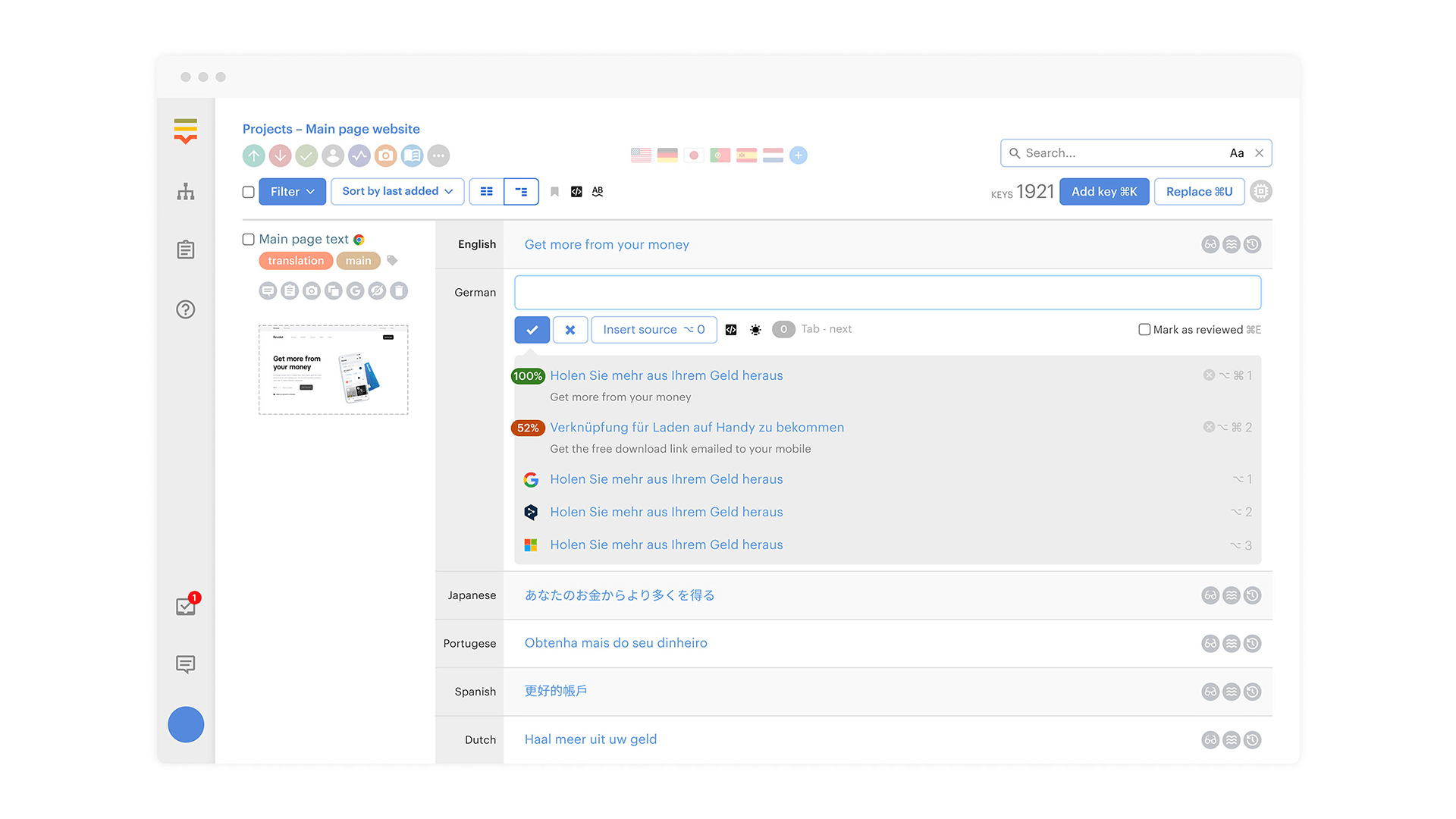 Lokalise screenshot