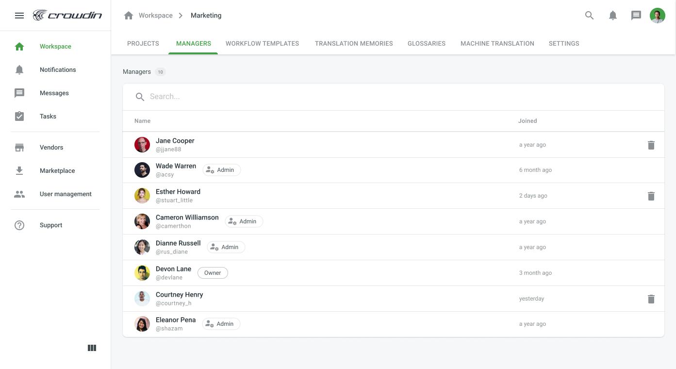 Crowdin Enterprise screenshot
